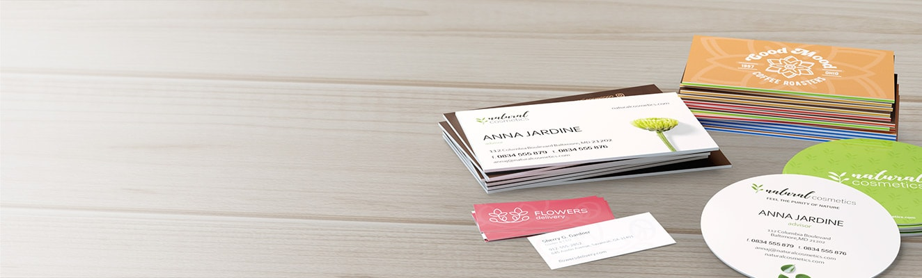 Beautiful Business Cards on a table next to coffee