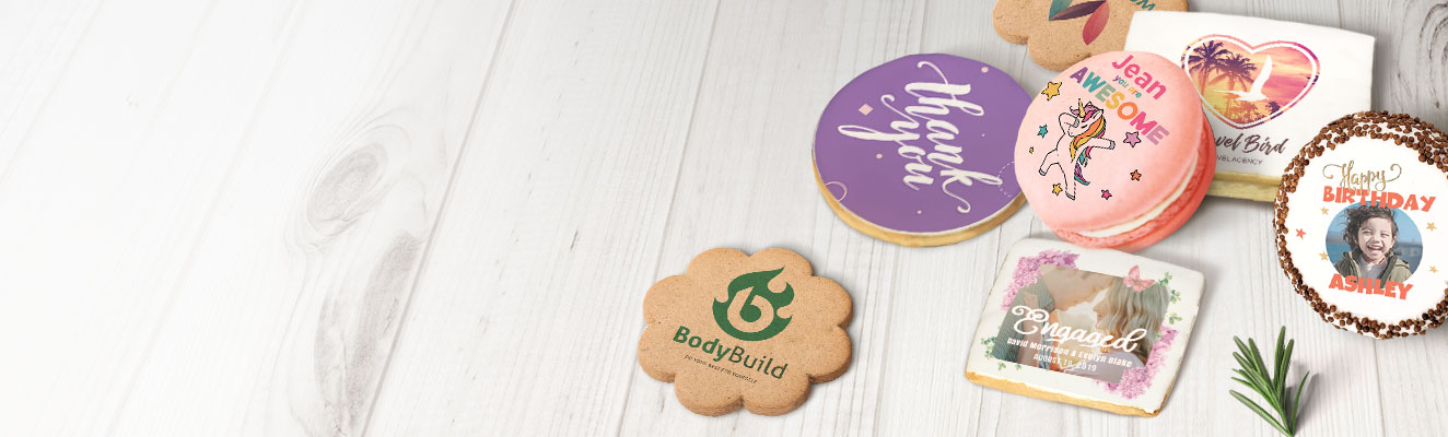 A variety of cookies with custom printed images and logos