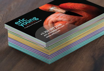 Thick color filled custom printed business cards